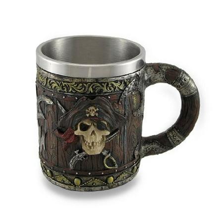Wood Look Pirate Skull Drinking Tankard Gothic Coffee Cup Mug by Things2Die4 - Pirate Mug