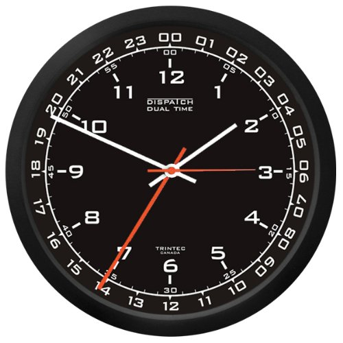 Trintec 12 & 24 Hour Military Time Swl Zulu Time 24hr Wall Clock - Black Dial DSP01