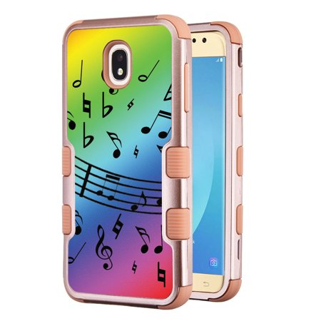 Rainbow Aura Quartz - 3-Layer Case for Samsung Galaxy J7 Crown / J7 aura / J7 Star / J7 Refine / J7 (2018), OneToughShield ® Hybrid Shockproof Protector Phone Case (Rose Gold Color) - Music Notes / Rainbow
