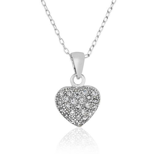 Molly and Emma  Sterling Silver Children's Cubic Zirconia Heart Necklace