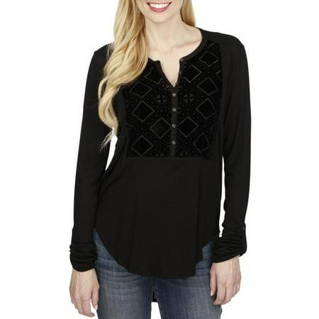 Lucky Brand Womens Velvet Bib Casual Top Velvet Casual Shirt