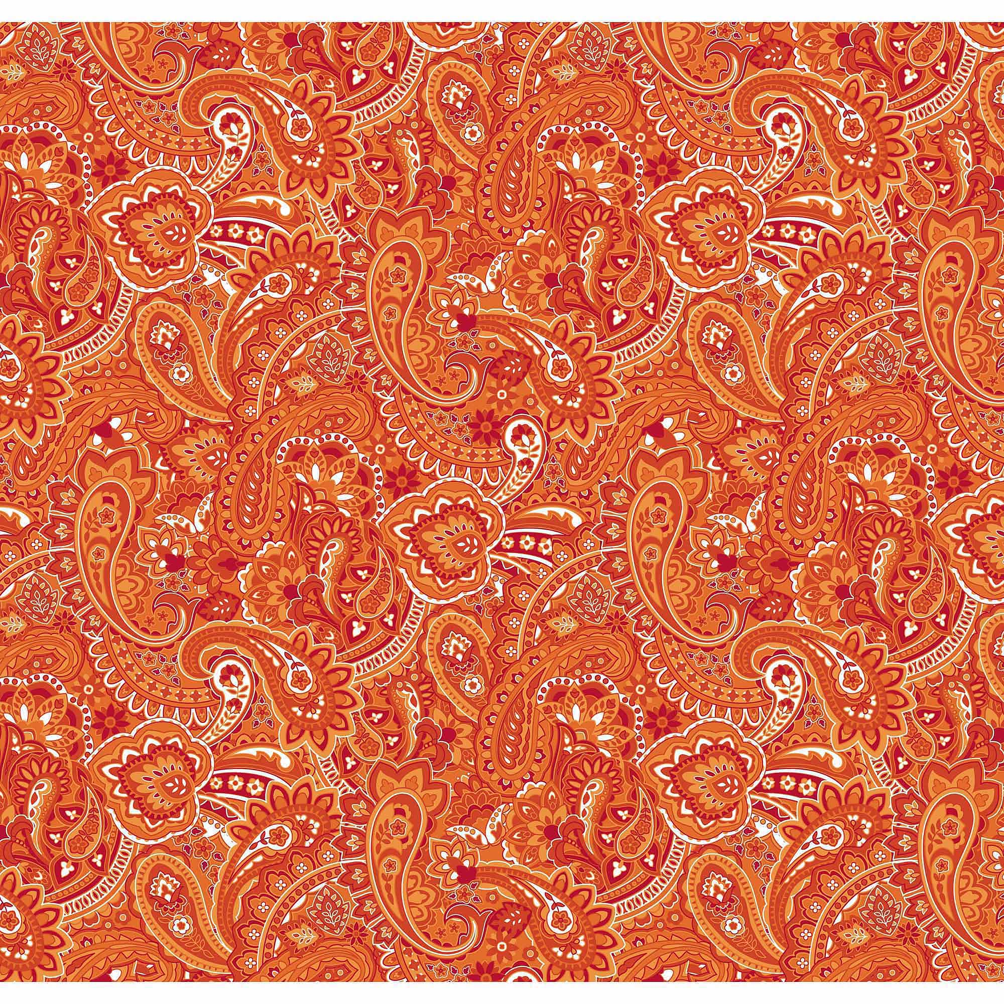 Springs Creative Cotton Blenders Gadabout Paisley, Flame, Fabric by the Yard