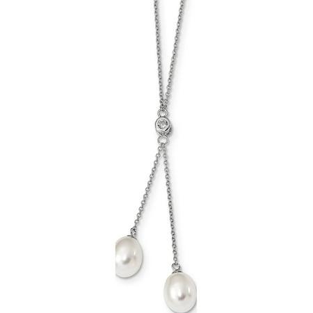 Argent 925 RH8-9mm riz blanc perle FWC CZ Dangle Collier - image 2 de 2