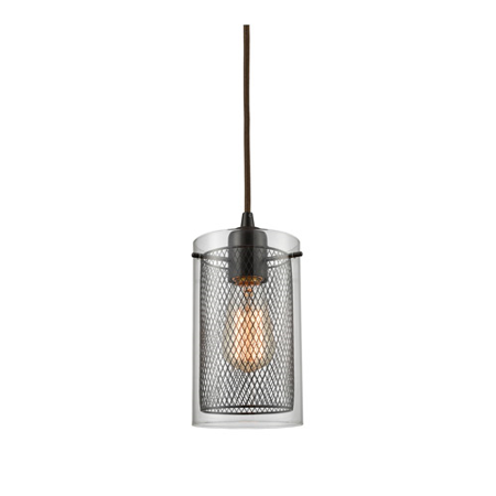 Pendants 1 Light With Oil Rubbed Bronze Finish Clear Glass And Metal Fishnet Medium Base 5 inch 60 Watts - World of Lamp Base Clear Metal