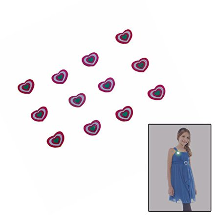 Valentine's Day Blinking Heart Brooches Set of 12 (Blinking Toys)