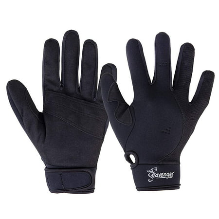 Seavenger 1.5mm Reef Gloves Stretchy Mesh with Reinforced Leather Good for Snorkeling, Kayaking, Spearfishing, Sailing, Scuba Diving, Rafting (Black,