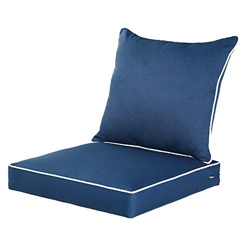 Qilloway Outdoor Indoor Deep Seat Chair, Resin Wicker Patio Furniture Replacement Cushions