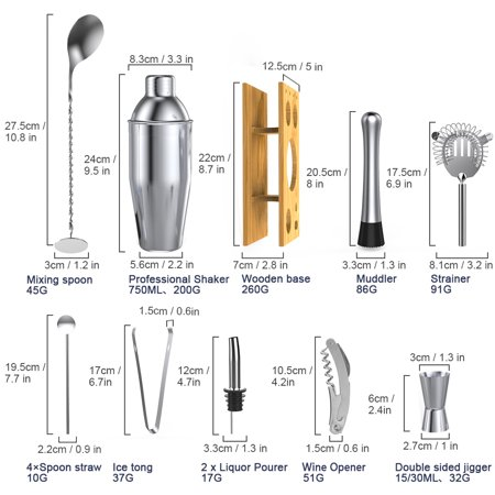Rackaphile 14-Piece Cocktail Shaker Bar Set, Stainless Steel Bartender Kit Accessories Tools - Includes 25 oz Shaker, 2 Liquor Pourers, Double Sided Jigger, Muddler, 4 Straw spoons and More