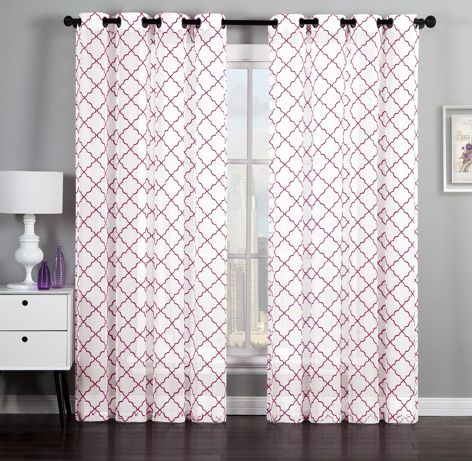 Geometric Flocked Linen 84-inch Curtain Panel Pair
