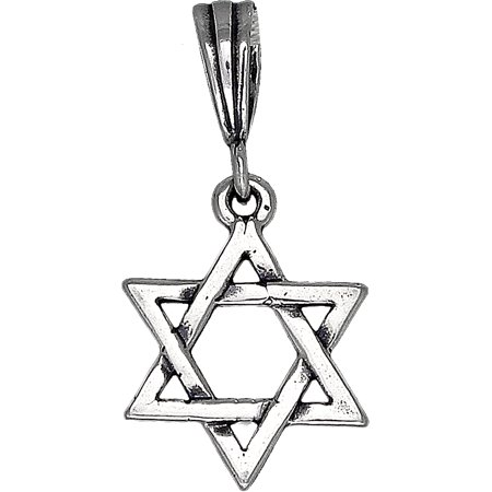 - Sterling Silver Star of David Pendant Necklace with Antique Finish and 18 Inch Rolo Chain