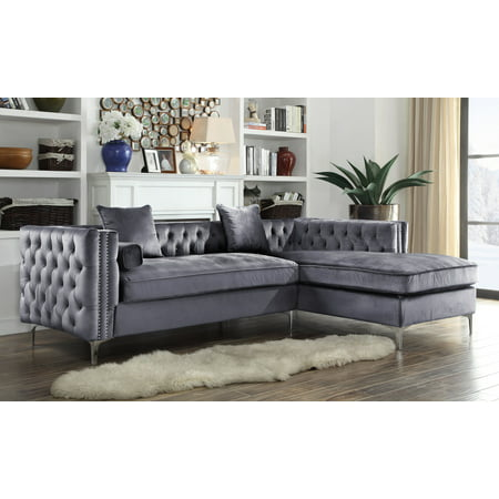 Chic Home Monet Velvet Modern Contemporary On Tufted With Silver Nailhead Trim Silvertone Metal Y