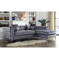 Chic Home Monet Velvet Modern Contemporary Button Tufted with Silver Nailhead Trim Silvertone Metal Y-leg Right Facing Sectional Sofa, Grey