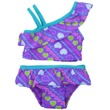 Joe Boxer Infant Toddler Girls Purple 2 Piece Swimming Suit Ruffle Swimsuit