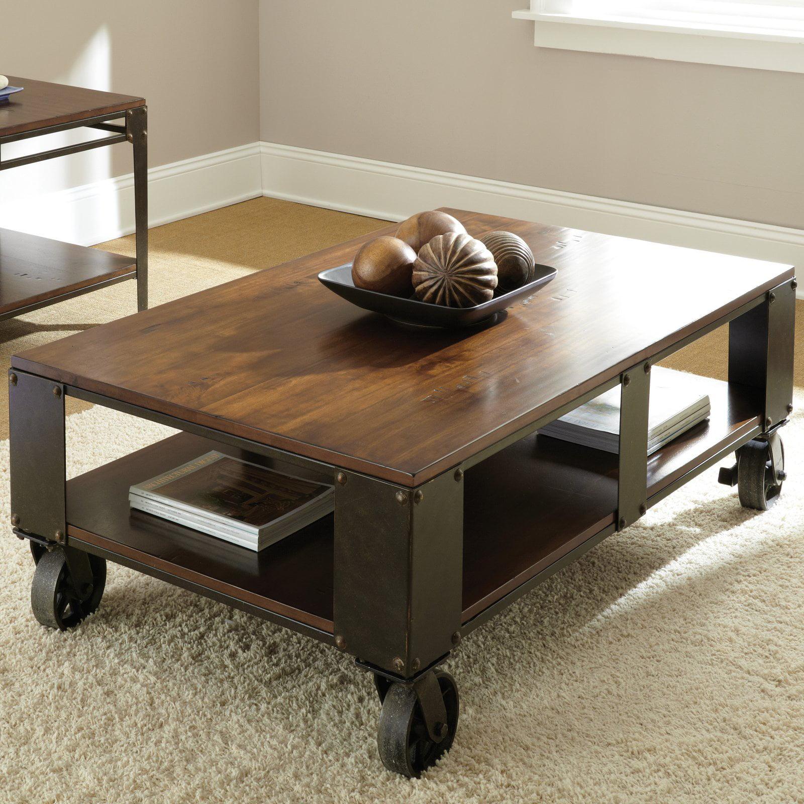 Steve Silver Barrett Rectangle Distressed Tobacco Wood Coffee Table