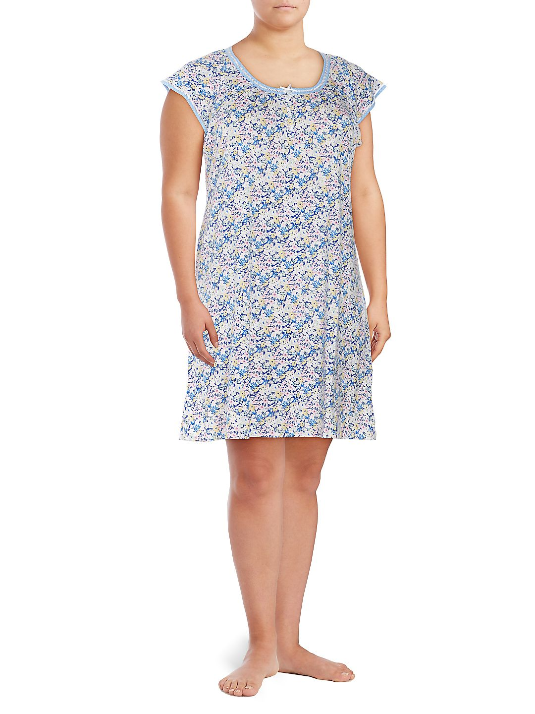 Plus Short-Sleeve Floral Night Gown