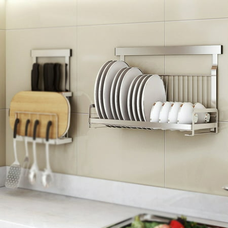 Yosoo Stainless Steel Wall Mount Dishes & Bowls Rack Solid Support Bowl Drainer No Falling, Bowl Drainer, Bowl Holder Rack (Bowl Support)