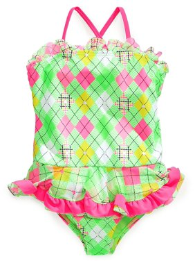 Angel Beach Little Girls One-Piece Green and Pink Foil Print Swimsuit - 4