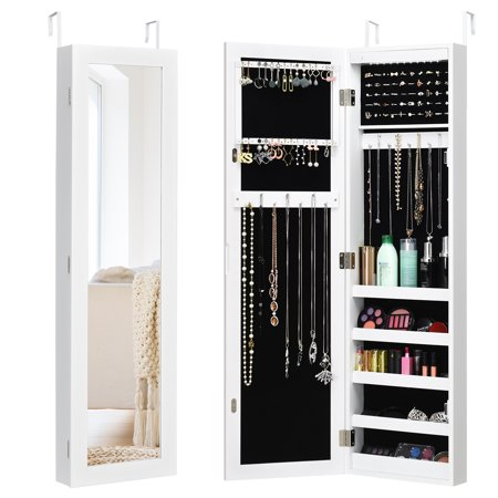 Costway Wall Door Mounted Mirrored Jewelry Cabinet Organizer Storage LED Light White ()