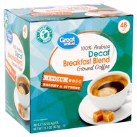 Great Value 100% Arabica Decaf Breakfast Blend Ground Coffee, 15.1 oz, 48 Count