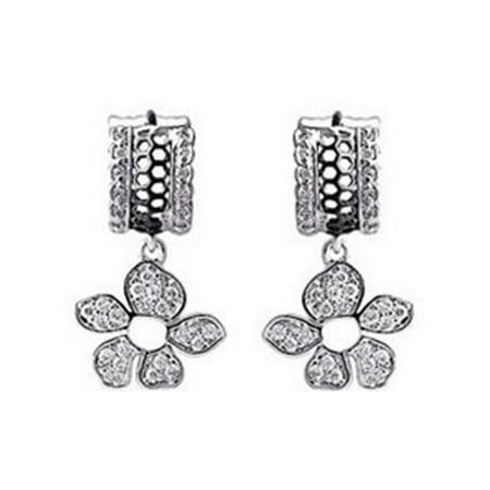 Womens Swarovski Crystal Element Silver Tone Clear Rhinestone Tropical Flower Cuff - Tropical Flower Rhinestone