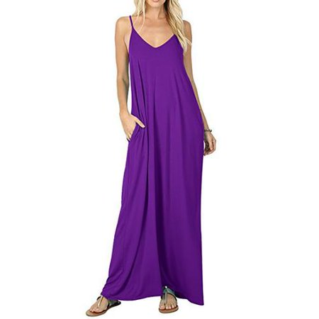 add068660f1 Akoyovwerve - Women s V-Neck Draped Jersey Casual Beach Cami Long Maxi Dress  With Pockets - Walmart.com