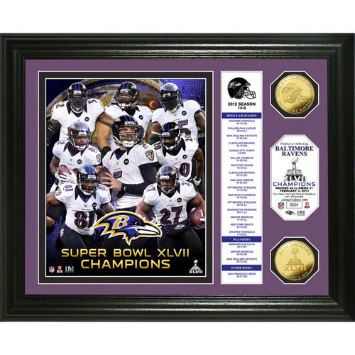 NFL - Baltimore Ravens Super Bowl XLVII Champions Gold Coin Banner Photo Mint
