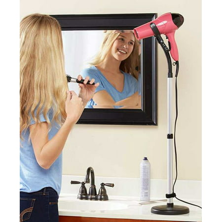 Hands Free Hair Styling Blow Dryer Holder - Adjustable Bendable Countertop Hairdryer Stand - Perfect For Curling, Drying, Straightening