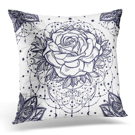 ARHOME Blue Beautiful Floral Paisley and Rose Flower with Beads and Stars Ethnic Henna Style Coloring Book White Pillow Case Pillow Cover 18x18 inch