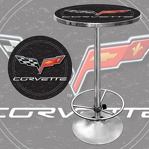 """Trademark Corvette C6 42"""" Pub Table, Chrome/Black"""