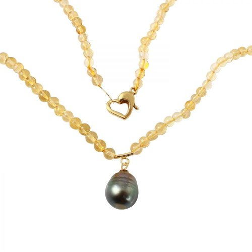 Foreli 10MM Tahitian Pearl 14K Yellow Gold Necklace by Generic