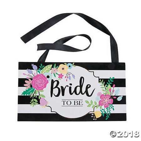 Black & White Stripe Bride to Be Chair Sign](The Bride Is Coming Sign)