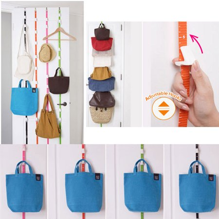 Adjustable Overdoor Strap Hanger Hat Bag Clothes Coat Rack Home Organizer 7 Hooks Home Bathroom Bedroom Supply Home Improvement