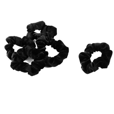 Women Hairstyle Velvet Elastic Hair Tie Band Ponytail Holder Black 5 - 1970s Hairstyles For Women