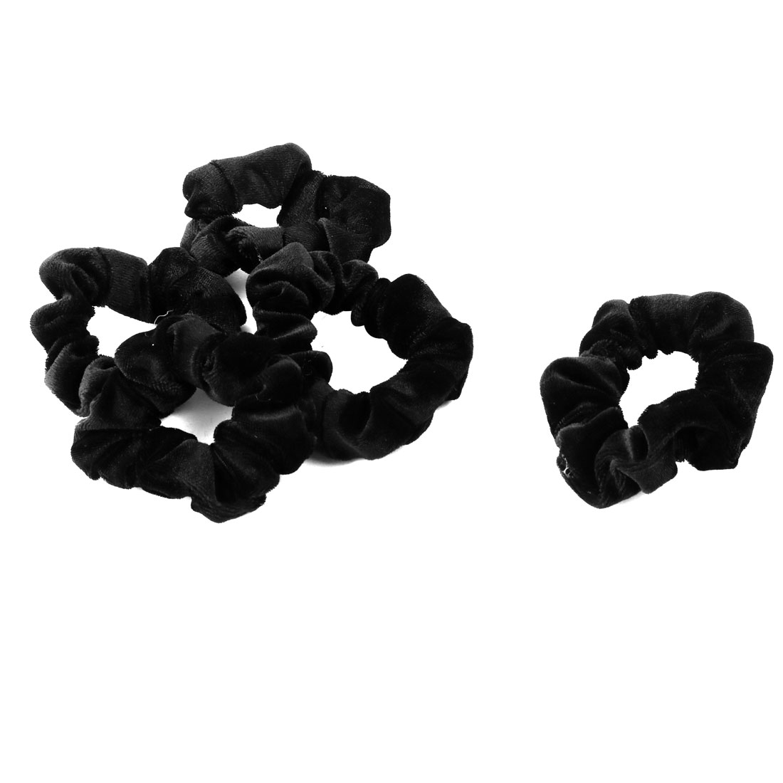 Women Hairstyle Velvet Elastic Hair Tie Band Ponytail Holder Black 5 PCS