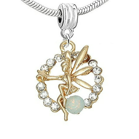 Tinkerbell Heart Charm - Tinkerbell Fairy with  Crystals Charm European Bead Compatible for Most European Snake Chain Bracelet
