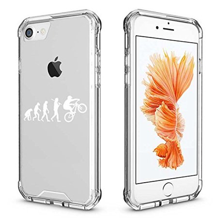 For Apple iPhone Clear Shockproof Bumper Case Hard Cover Evolution Mountain BMX Bike (White for iPhone 7 Plus)