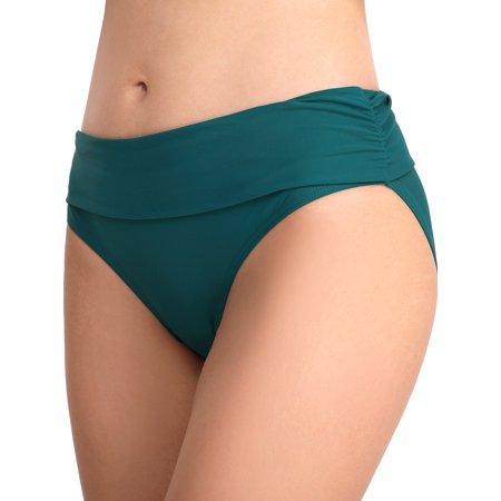 Women's Swimsuit Beach Bikini Tummy Control Swimwear Bottom Mid and High Waist Stretch Panties - Mid Cut Bottom