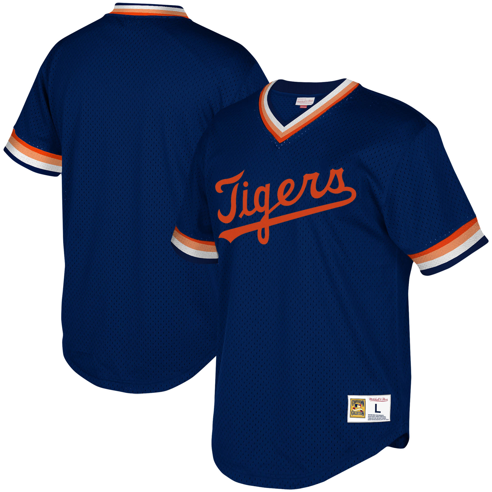 Detroit Tigers Mitchell & Ness Youth Cooperstown Collection Mesh Wordmark V-Neck Jersey - Navy