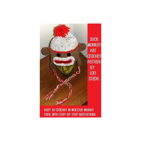 Sock Monkey Hat Crochet Pattern for Adults and Teens - eBook
