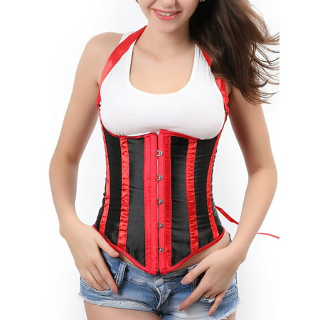 Women's Sexy Stripe Underbust Corset Waist Trainer Corset Shapewear  Body Shaper Top With G-string White Plus Size S-6XL