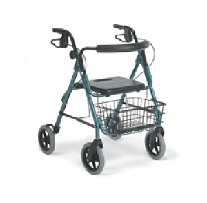 "Medline Deluxe Aluminum Foldable Rollator Walker with 8"" Wheels, Blue"
