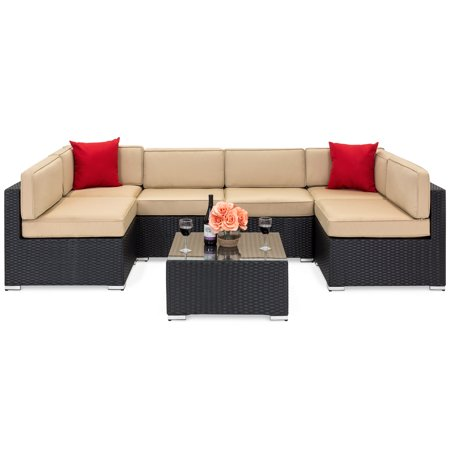 Best Choice Products 7-Piece Outdoor Patio Rattan Wicker Sectional Conversation Sofa Set with Table, 6 Sofa Chairs, Assembly Required, Black ()