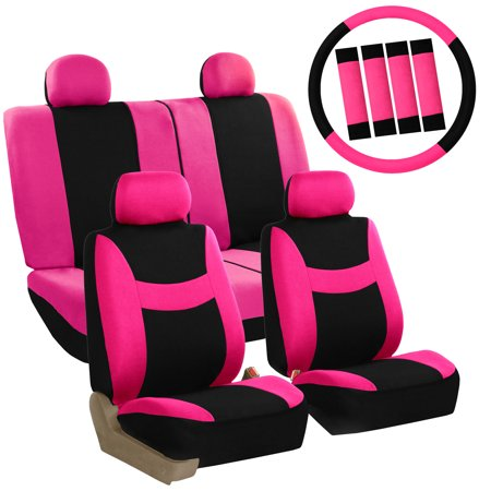 Seal Head (FH Group Light & Breezy Seat Covers for Auto, 4 Headrests Full Seat Covers with Steering/Belt Pad Cover, Pink and Black)