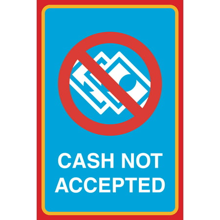 Money Sign - Cash Not Accepted Print No Money Picture Business Office Window Cashier Sign