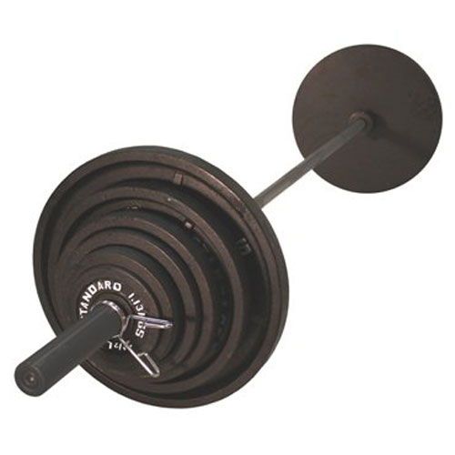 USA Sports by Troy Barbell 300 lb. Olympic Black Weight Set with Black Bar