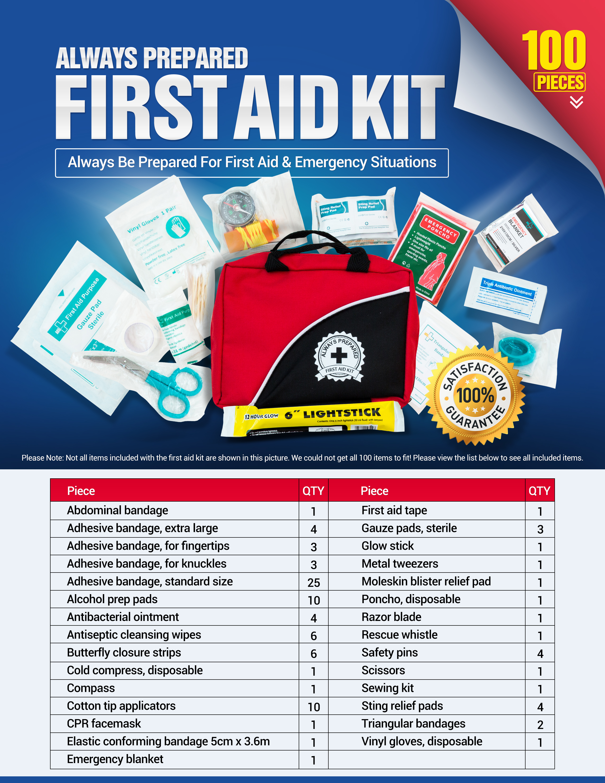small first aid kit 100 piece car home survival image 3 of 5