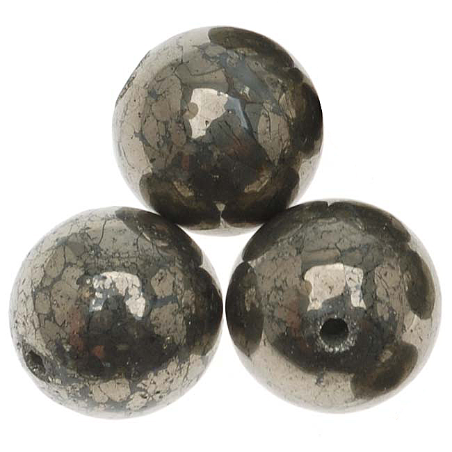 Gemstone Pyrite 'Fool's Gold' 12mm Round Beads - 12 Beads