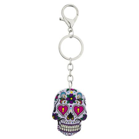 Lux Accessories White Sugar Skull Rose Keychain Key Ring