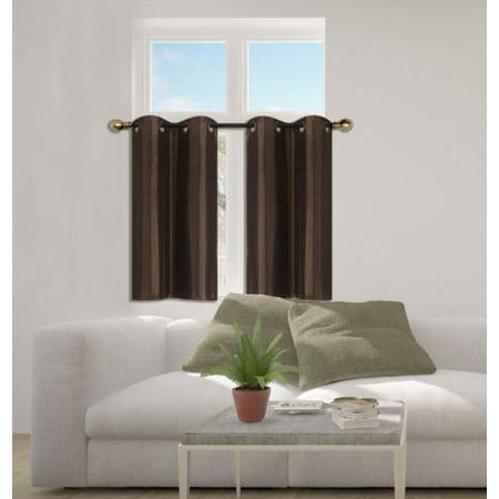 D24 Brown 2-Piece Energy Saving Room Darkening Grommet Top Window Curtain Set, 2 Blackout Panels For Short Window
