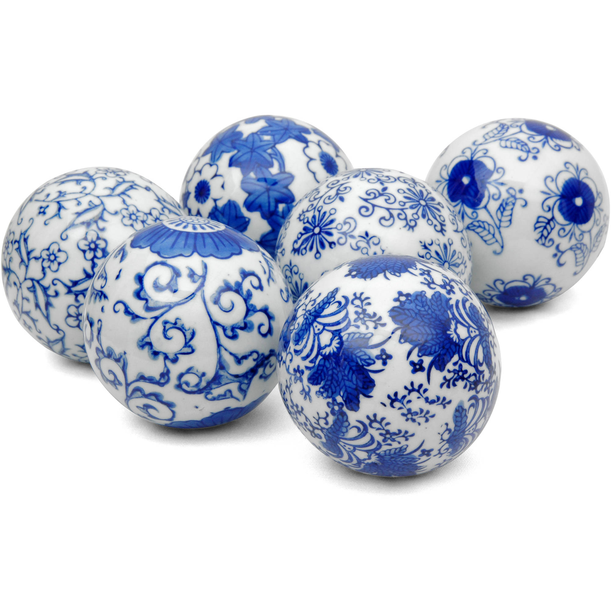 "3"" Blue & White Decorative Porcelain Ball Set, B by Oriental Furniture"